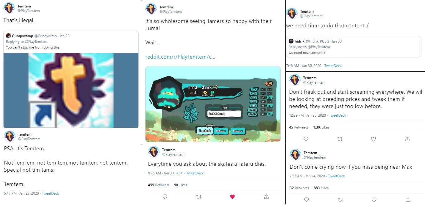 If you're not following @PlayTemtem on Twitter, you're missing out on some real gems.