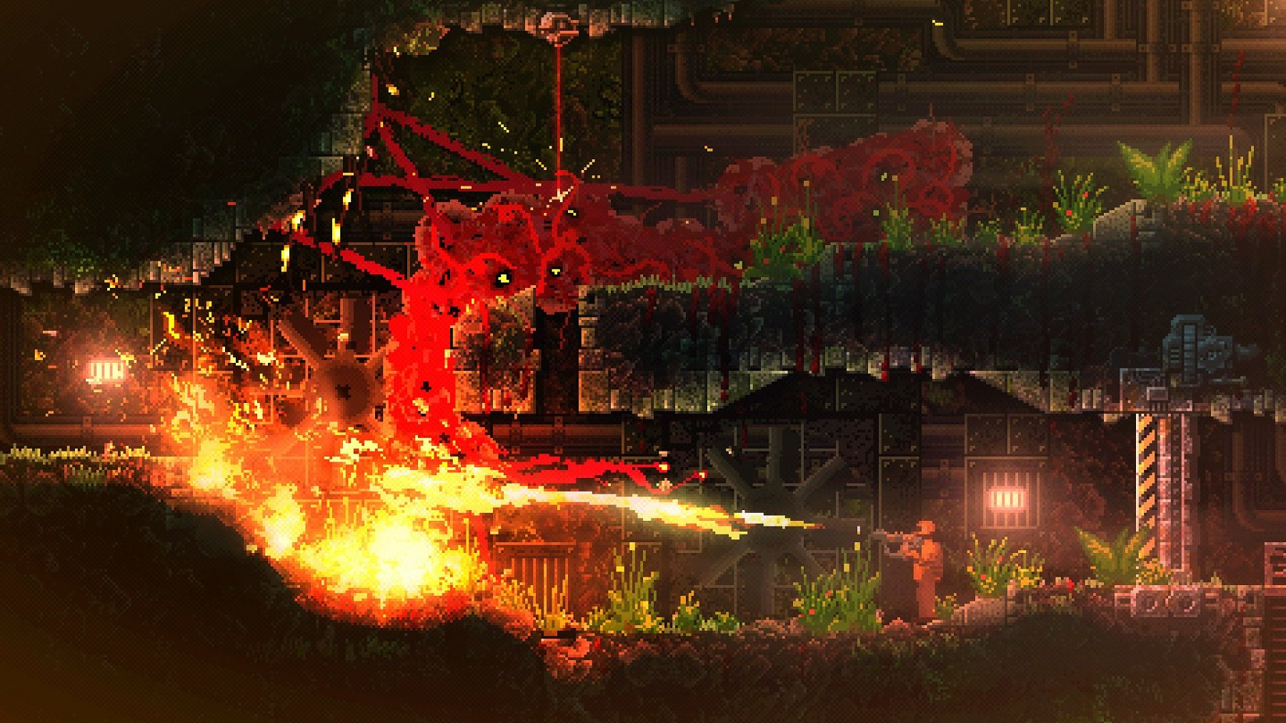 In Carrion, you play as a large, red monster capable of ripping your foes limb from limb.