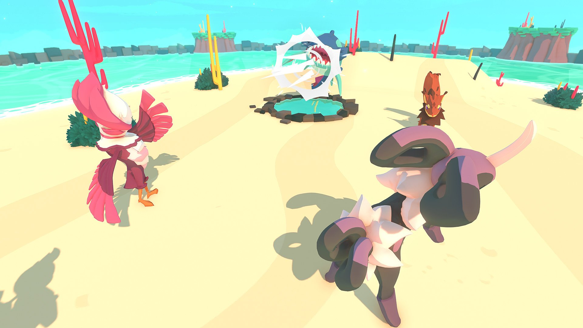 You send two of your Temtem out at a time. Beforehand, you'll want to plan out which Types you need and whether your two Temtem work well together based on their Traits.