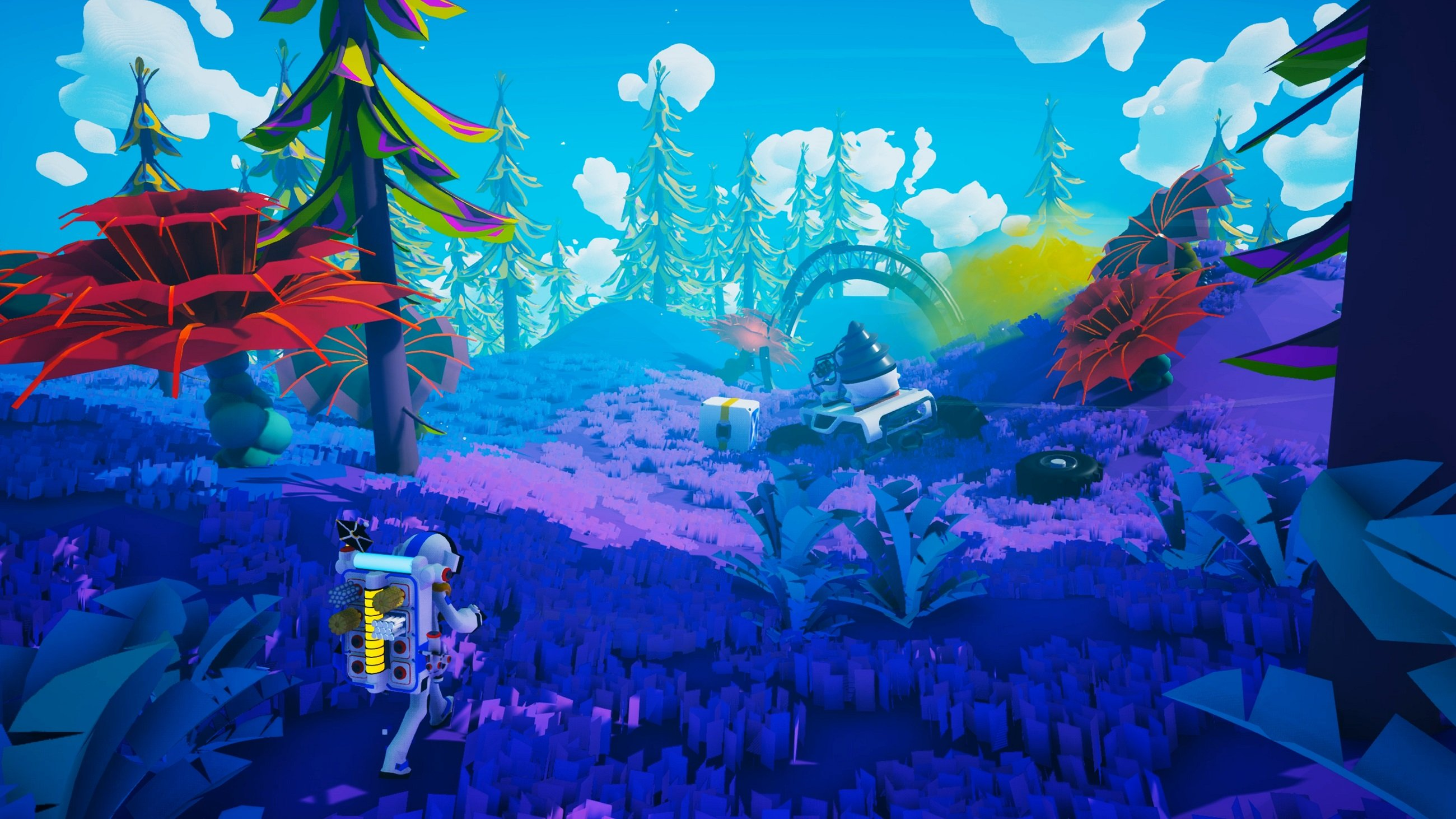 Astroneer lets you explore colorful planets and build whatever you want, including cool bases and vehicles.