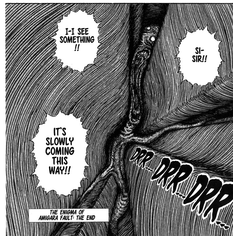 World of Horror plays upon the elements that make Junji Ito's work, like The Enigma of Amigara Fault, so effective.